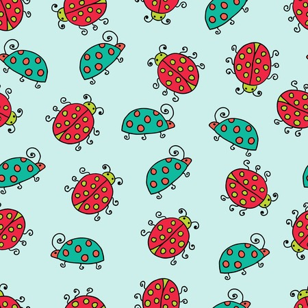 seamless lady bug illustration background pattern Vector