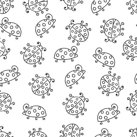 lady bug: Marienk�fer nahtlose Polka Dot Illustration Hintergrund-Muster