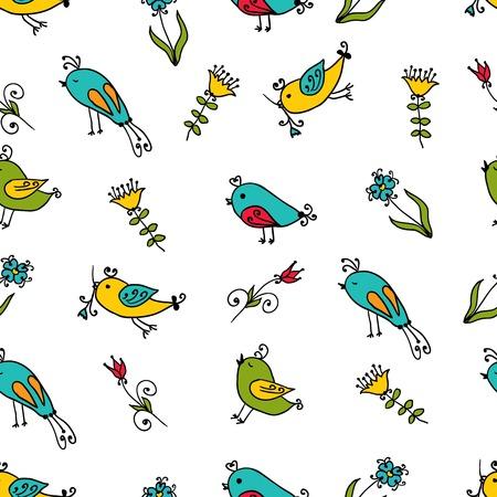 Seamless texture with flowers and birds. Pattern. Vector