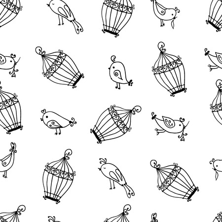 seamless cute birds with cages pattern. Wallpaper. Vector