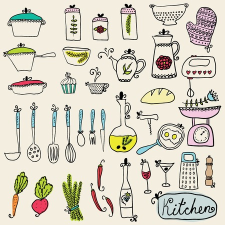 kitchen set in vector. Stylish design elements: pepper-box, fork, spoon, bowl, pan, mixer, scales, colander, knife and others Illustration