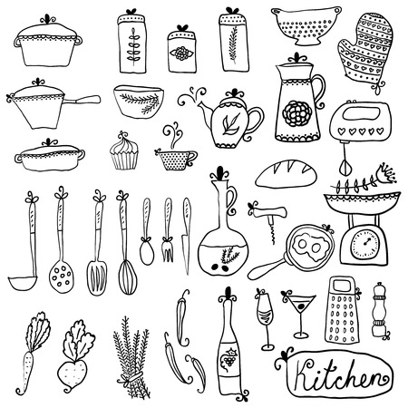 kitchen set in vector. Stylish design elements: pepper-box, fork, spoon, bowl, pan, mixer, scales, colander, knife and others Vector