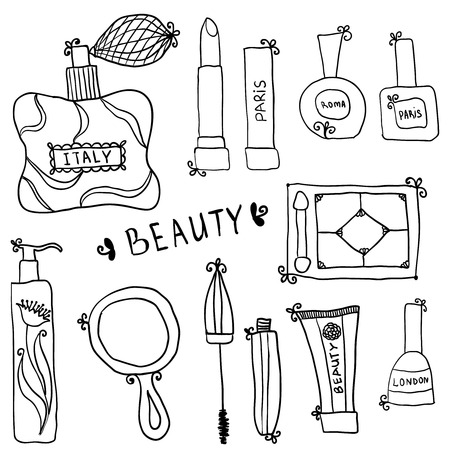 Beauty and cosmetics icons vector doodles on a white background Vector