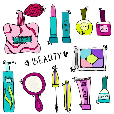 hand mirror: Beauty and cosmetics icons vector doodles on a white background Illustration