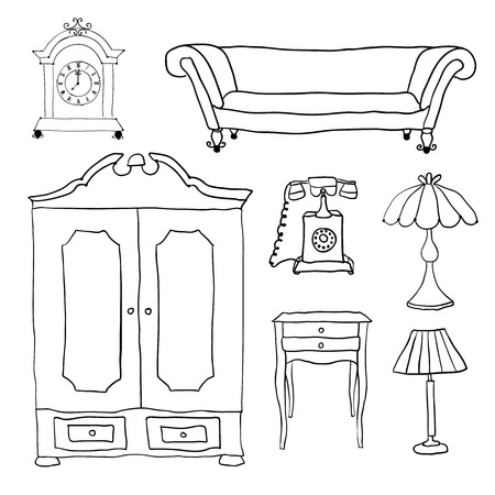 Set of vector icons for living room. Vector