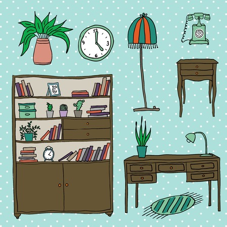 Furniture and Home Accessories - Set of design elements Vector
