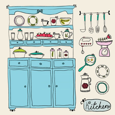 sideboard: kitchen set in vector. Design elements: kitchen Cabinet, kitchen utensils, mixer, scales, and other