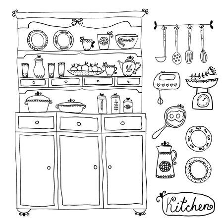 キッチン ベクトルを設定します。デザイン要素: キッチン キャビネット、キッチン用品、ミキサー、スケール、およびその他