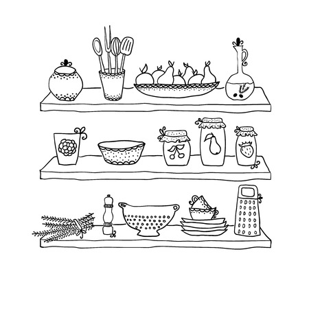 kitchen utensils: Utensilios de cocina en los estantes, dibujo boceto