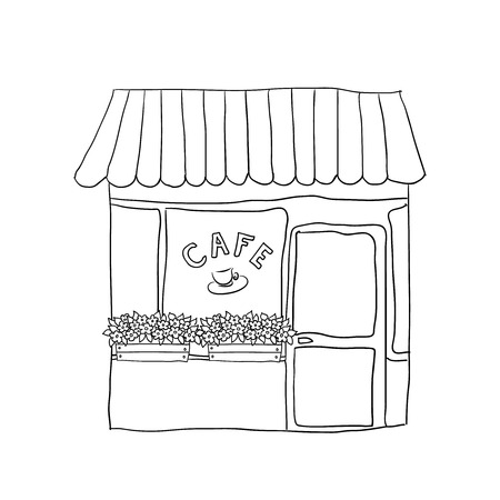 outdoor dining: illustrated cute street cafe  Illustration