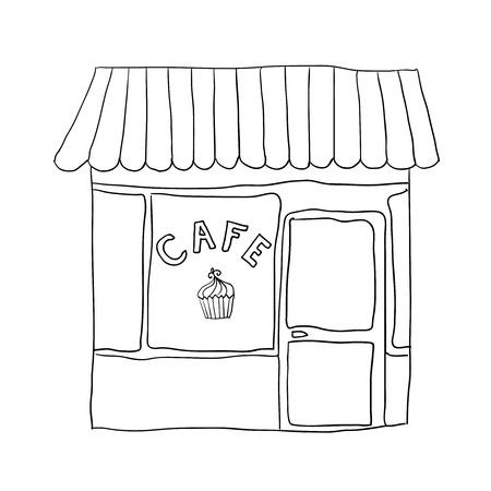 illustrated cute street cafe  Illustration