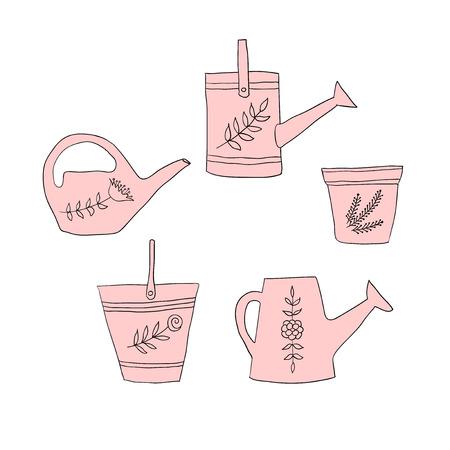 gardening design elements, pail, pot, watering can Vector