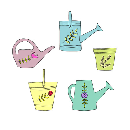 gardening design elements, pail, pot, watering can Vector