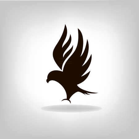 Black eagle isolated with outstretched wings, logo Vector