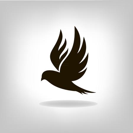 Pájaro negro aislado con las alas extendidas