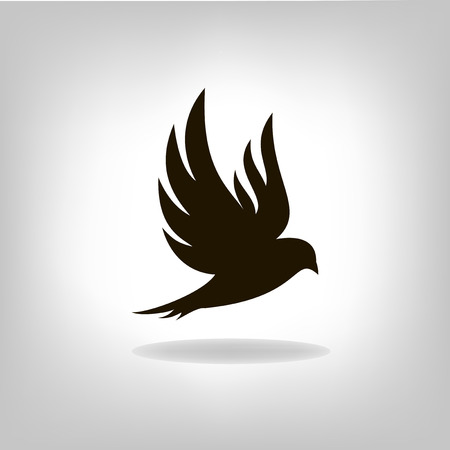 Black bird isolated with outstretched wings Stock Illustratie
