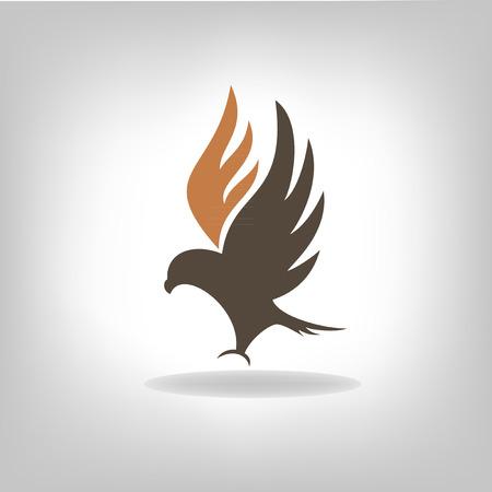 広げた翼で分離された黒いワシ