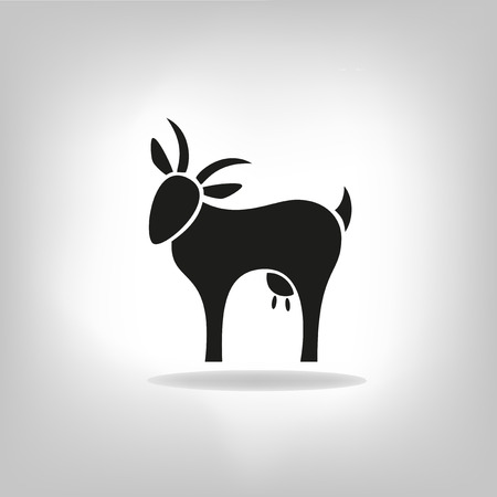 goat cheese: black silhouette of goat on a light background