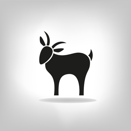 black silhouette of goat on a light background Vector