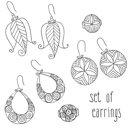bijou: vector set of different fashion female  earrings