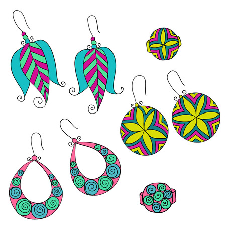 earrings: vector set of different fashion female  earrings