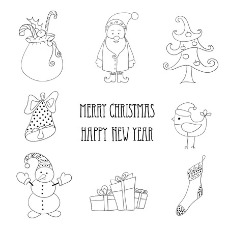 Christmas retro icons, elements and illustrations.  Vector