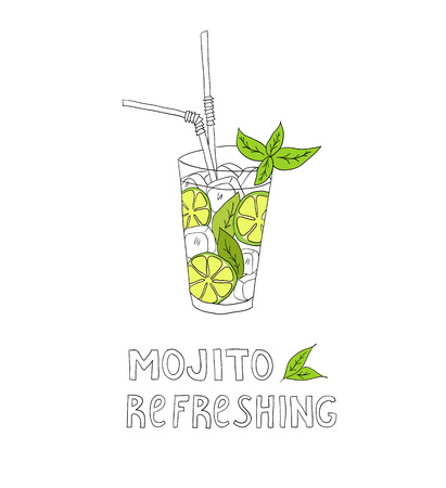 Hand drawn illustration of cocktail. MOJITO. Vector collection. Vector