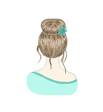 Beautiful woman with hairstyle view from back Ilustração