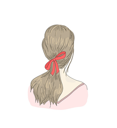 Beautiful woman with hairstyle view from back Stock Illustratie