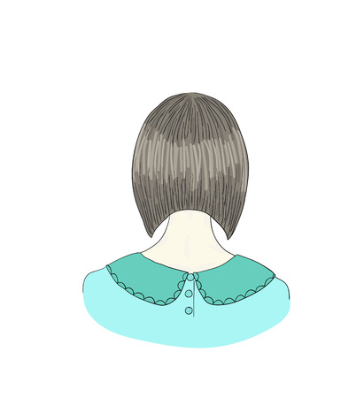 curly tail: Beautiful woman with hairstyle view from back Illustration