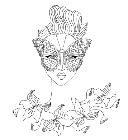 fashion illustration of female face with butterfly and flowers