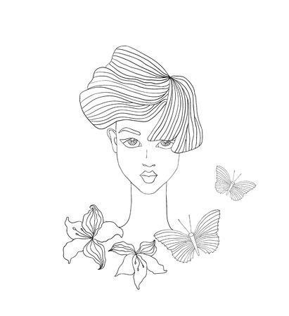 jeune fille adolescente nue: illustration de mode de visage de femme avec papillon et des fleurs