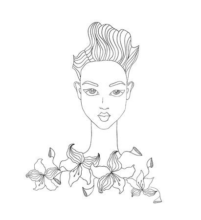 jeune fille adolescente nue: illustration de mode de visage f�minin avec des fleurs Illustration