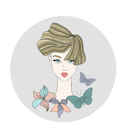 fashion illustration of female face with flowers