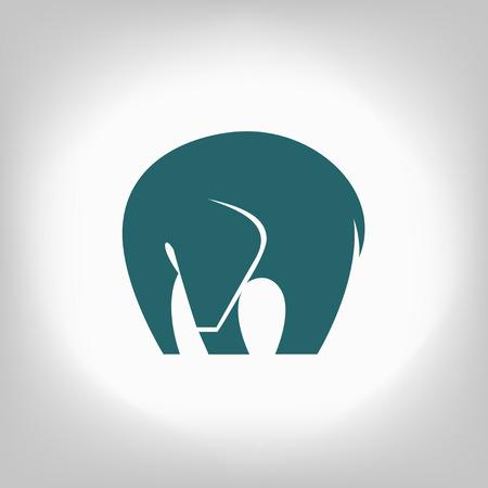 silhouettes elephants: emblema azul de un elefante sobre un fondo claro Vectores