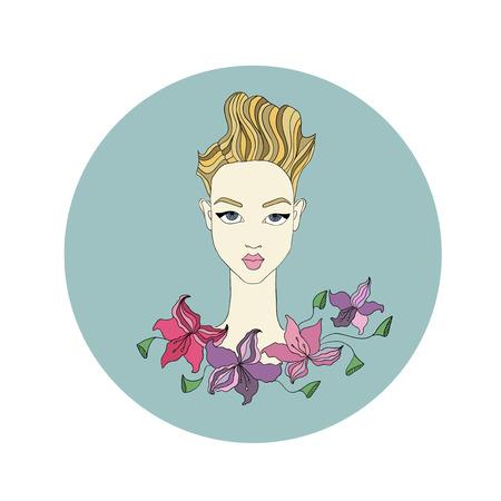 jeune fille adolescente nue: illustration de mode de visage féminin avec des fleurs Illustration