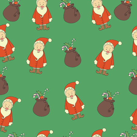 wrapping paper pattern: Christmas background, seamless, doodles. For wrapping paper pattern Illustration
