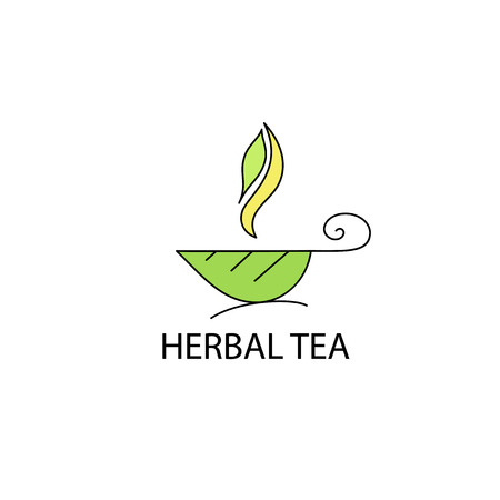 steam of a leaf: Cup of herbal tea from a leaf  with steam