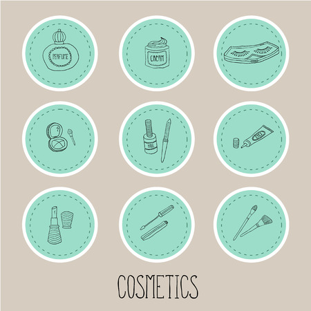 nail file: Set a stickers of beauty and cosmetics icons vector doodles