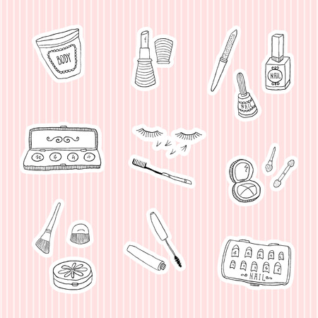 Set a stickers of beauty and cosmetics icons vector doodles