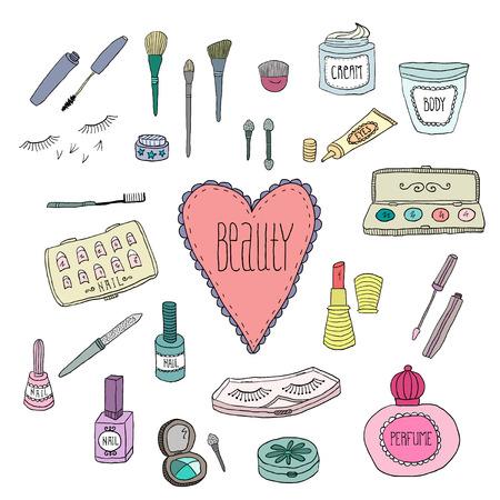 白い背景にいたずら書きの美しさと化粧品のアイコン ベクトル  イラスト・ベクター素材