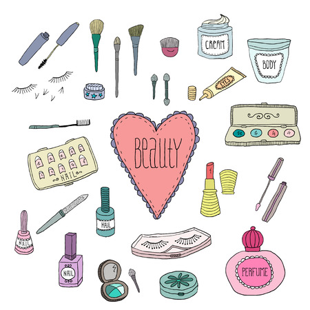 glitter makeup: Beauty and cosmetics icons vector doodles on a white background Illustration