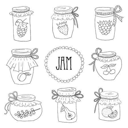 El conjunto de dibujado a mano frascos con mermeladas caseras. Inicio Canning de frutas de verano. Ilustración de vector