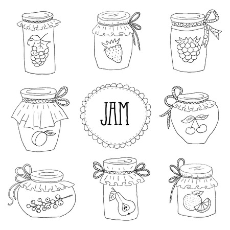 jams: The set of hand drawn jars with home-made jams. Home Canning of Summer fruits.