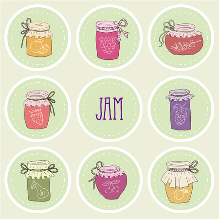The set of hand drawn jars with home-made jams. Home Canning of Summer fruits. Vector