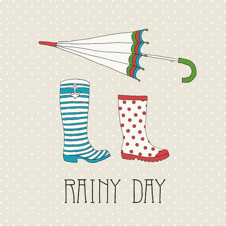 Colored rubber boots with umbrella on a background of polka dots Ilustração