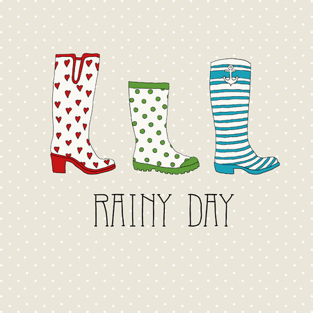 wellingtons: Colored rubber boots vector set on a background of polka dots Illustration