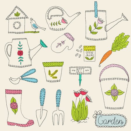 Hand drawn gardening tools, vector design elements Ilustrace