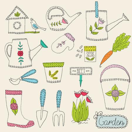 Hand drawn gardening tools, vector design elements Illustration