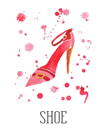 Watercolor womens shoe with drops of paint Vector